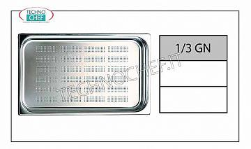 Gastronorm 1/3 perforated trays in stainless steel Gastro-norm 1/3 tray, perforated, 18/10 stainless steel, dim. 325 x 175 x 40 h