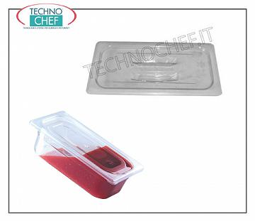 Lid for gastronorm containers in polycarbonate, Polycarbonate lid with handle grip for gastro-norm 1/1 tray