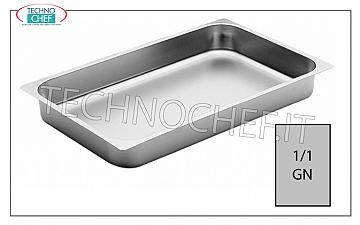 GN 1/1 stainless steel trays Gastro-norm baking tray 1/1 in stainless steel with 20 mm high edge, dim. mm 530x325x20h