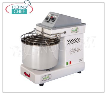 FAMAG - Technochef, Grill, Spiral Kneader 5 Kg, 10 SPEED, mod. IM5 / 230 FAMAG GRILLETTA Professional Spiral Dough Mixer with 7 liter fixed head and bowl, mixing capacity 5 Kg, 10 SPEED, V 230/1, kW 0.35, Weight 27 Kg, dim. mm 450x260x430h