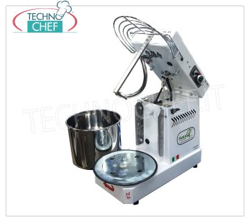 FAMAG - Technochef - Grill, 8 kg Professional Spiral Dough Mixer, 10 SPEED FAMAG spiral mixer with liftable head and 11.5-liter removable bowl, mixing capacity 8 Kg, 10 SPEED, V 230/1, kW 0.35, Weight 35 Kg, dim.mm.520x280x430h