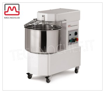 SPIRAL MIXER of 44 Kg (tank lt.50), Mod. IM44 Spiral mixer with head and fixed tank of 50 liters, mixing capacity 44 Kg, V 230/1, kW 1,50, dim. mm 842x480x786h