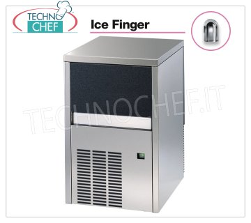 Technochef - ICE FINGER ICE CUBE CUBE MAKER with DEPOSIT, Mod.IMF26 Ice maker ICE FINGER with hollow cubes, max yield 25 Kg / 24h, storage capacity 4 Kg, water cooling, V.230 / 1, Kw 0,31, Weight 36 Kg, dim.mm.385x468x607h