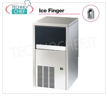 Technochef - ICE FINGER ICE CUBE CUBE MAKER with DEPOSIT, Mod.IMF28 Ice maker ICE FINGER with hollow cubes, max yield 25 Kg / 24h, storage capacity 8 Kg, water cooling, V.230 / 1, Kw 0,31, Weight 38 Kg, dim.mm.385x468x687h