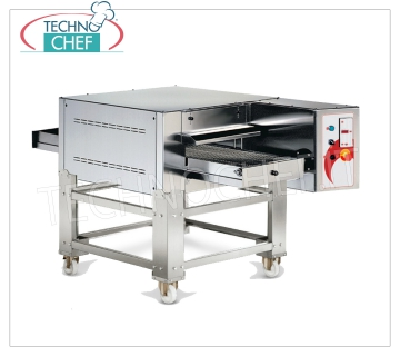 TECHNOCHEF - Electric tunnel pizza oven with 500 mm wide belt, yield 40/46 pizzas / hour, Mod.TCA Static electric tunnel oven with 500 mm wide STAINLESS STEEL conveyor belt, cooking chamber 530x800x110h, V.400 / 3, Kw. 12.5, Weight 114 Kg, external dimensions mm 1080x1770x410h