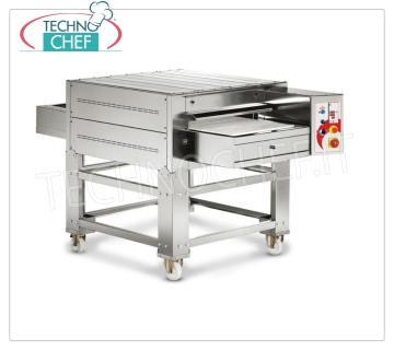 TECHNOCHEF - Electric tunnel pizza ovens, 590 mm conveyor, output 105/126 pizza / hour, Mod.TSB Static electric tunnel oven with belt in REFRACTORY TABLES 590 mm wide, cooking chamber 670x1140x110h, V.400 / 3, Kw. 19.5, Weight 308 Kg, external dimensions 1220x2160x520h mm