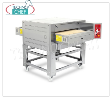 TECHNOCHEF - Gas tunnel pizza ovens, 800 mm conveyor, output 135/238 pizzas / hour, Mod.TSGAS GAS tunnel oven with 800 mm wide REFRACTORY TABLE belt, cooking chamber 850x1140x110h, kcal.h 40,420, Weight 400 Kg, dim. mm 1420x2160x660h