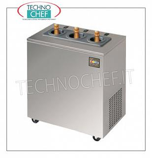Chiller for 3 bottles trolley-mounted version with timer Chiller for 3 bottles trolley-mounted version with timer, yield: 750 cc bottle cooling. from 25 ° to 10 ° C in about 10 minutes, V.230 / 1, Kw.0.32, Weight 70 Kg., dim.mm.370x630x720h