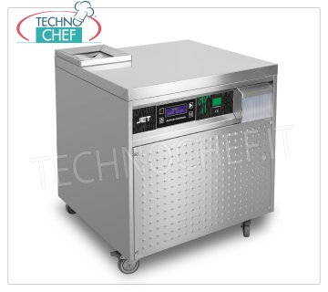Technochef - AUTOMATIC CUTLERY DRIER, max productivity 5000/6000 cutlery / hour, Mod.JET AUTOMATIC CUTLERY GLOSSY DRYER on mobile trolley, YIELD 5000/6000 cutlery / hour, CONTINUOUS LOADING from above, AUTOMATIC CUTLERY OUTPUT on the front, V.230 / 1, Kw 0.80, dimensions mm 690x620x800h