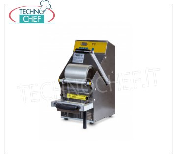 TECHNOCHEF - Manual Lever Thermosealer for Trays, Mod. TS101-R MANUAL SEALING MILL WITH THERMAL SHEET, for PREFORMED TRAYS with MAX SIZE of mm 205x150x100h, V.230 / 1, kw 0,5, dimensions mm 260x300x500h