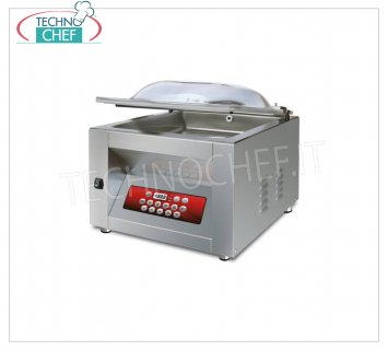 EUROMATIC - Technochef, Professional Bell Vacuum Machine, Bar 30 cm, Mod. JUNIOR DISPLAY VACUUM PACKAGING MACHINE with BENCH, CAMERA mm.310x350x190h, WELDING BAR 300 mm, VACUUM PUMP of 8 /, 9.6 meters / cubic / hour, V.230 / 1, Kw. 0.40, Pesp 38 Kg, dim.mm.410x460x420h