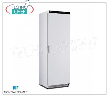 MONDIAL FRAMEC - Technochef, Professional Freezer Wardrobe 1 Door, lt.360, Mod.KICN40LT 1-door Refrigerator / Freezer cabinet, MONDIAL FRAMEC, external structure in white steel sheet, capacity lt.360, negative temperature -15 ° / -25 ° C, static with grid evaporator, V. 230/1, Kw. 0.19, Weight 70 Kg, dim.mm.600x620x1882h