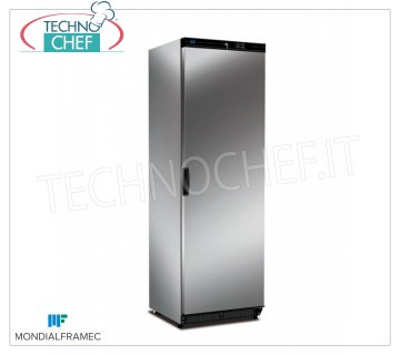 MONDIAL FRAMEC - Technochef, Professional Freezer Wardrobe 1 Door, lt.360, Mod.KICNX40LT 1-door Refrigerator / Freezer cabinet, MONDIAL FRAMEC, external structure in AISI 430 stainless steel, capacity lt.360, negative temperature -15 ° / -25 ° C, static with grid evaporator, V. 230/1, Kw . 0.19, Weight 70 Kg, dim.mm.600x620x1882h