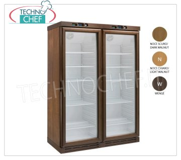 Forcar - STATIC REFRIGERATED WINE CELLAR 2 DOORS, lt. 310 + 310, DOUBLE TEMPERATURE, Mod.KL2794 DARK WALNUT color wooden wine cooler, 2 glass doors, capacity 310 + 310 lt, temperature + 2 ° / + 8 ° C ~ -18 ° -22 ° C, static refrigeration, LED lighting, V.230 / 1, Kw. 0,185 + 0,185, Weight 260 Kg, dim.mm.1280x610x1860h.