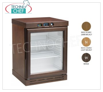 Forcar - STATIC REFRIGERATED WINE CELL, 130 l, TEMPERATURE + 2 ° / + 8 ° C, Mod.KL2793 Refrigerated wine cellar for wines in color WALNUT DARK, 1 glass door, capacity 130 lt, temperature + 2 ° / + 8 ° C, static refrigeration, LED lighting, V.230 / 1, Kw.0.1, Weight 44 Kg, dim.mm.640x610x870h.