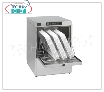 Professional dishwasher-washer, basket 500x600 mm, electronic controls, three-phase DISHWASHER-WASHER with 500x600 mm basket, ELECTRONIC controls, capacity 4 GN 1/1 or mm.600x400 trays, 3 cycles of 90/120/180 sec + continuous cycle, double rinse aid dispenser, V.400 / 3 + N, Kw.5,18, Weight 68 Kg, dim.mm.600x703x850h
