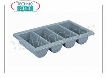Cutlery containers Cutlery tray with 4 compartments in food-grade polyethylene, dim.mm.530x325x100h