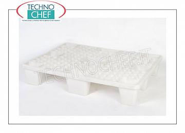 Polyethylene pallets White polyethylene pallets for food, capacity: static 4.000 Kg, dynamic 1.200 Kg, dim.mm.1200x800x140h