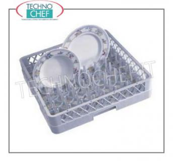 UNIVERSAL Dishwasher RACK for DISHES UNIVERSAL BASKET for WIDE-LINKED PLATES, made of polyethylene, can be fitted with RIALZI, external dimensions mm.500x500x103h