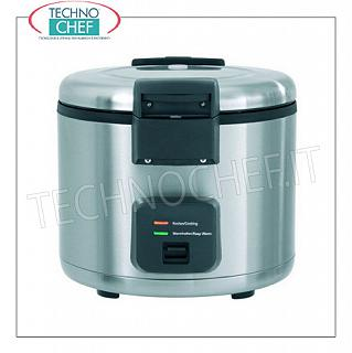 "INOX COOKER for about 40 PORTIONS, with WARM function, capacity lt.8 Rice cooker in stainless steel for about 40 portions, with ""WARM"" function, capacity 8 liters, V.230 / 1, Kw.1,95, weight 11 Kg, dim.mm.384x384x375h"