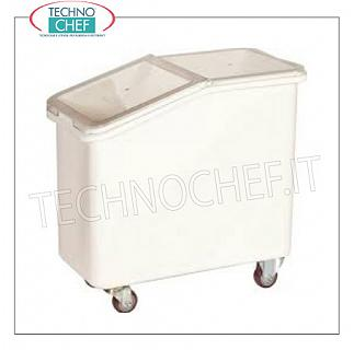 Hoppers on wheels for flour and sugar Hopper under trolley trolley in white polyethylene, with sliding cover in transparent polycarbonate, capacity lt.102, dim.mm.740X420X710h
