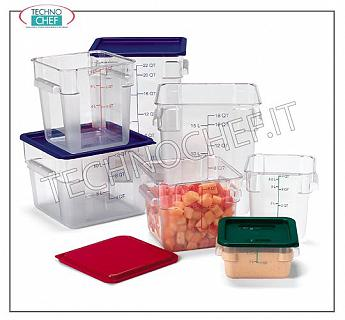 Boxes and cans for food preservation Square jar made of polycarbonate, capacity 1.9 liters, dimensions 181x181x97 h. Transparent color.