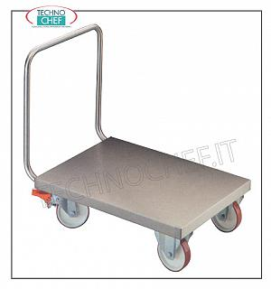 Technochef - TROLLEY WITH LOW STAINLESS STEEL FLOOR, Capacity 1400 Kg, art. CP1-RF Low floor trolley with push handle for HEAVY TRANSPORT, Capacity 1400 Kg. Dim. mm 1080x600x900h