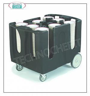 Flat transport trolleys Plate trolley made of polyethylene with 6 adjustable dividing elements, flat capacity per column: 45/60, dimensions mm 711x1092x806h