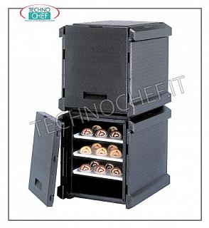 Isothermal containers for Gastronorm containers Isothermal container in polypropylene, front opening with 5 guides for inserting pizza / pastry pans (600x400 mm), dim. internal 620x405x510h mm