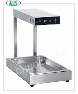 Hot plate with Infrared warm shelf GN 1/1 heating plate with infrared shelf (height 65 mm) i, V 230/1, Kw 1, dim cm. 33x56x50h