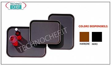 Non-slip trays for bar room service Rectangular tray in polypropylene with non-slip surface, dimensions mm.350x250