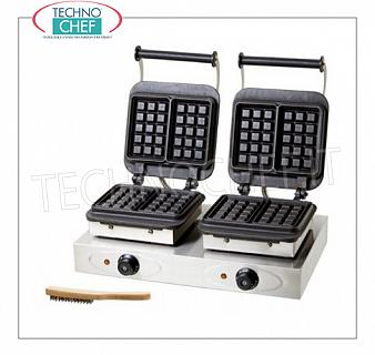 WAFFLE MACHINE with 2 CAST IRON COOKING PLATES Waffle maker with 2 independent cast-iron fixed cooking plates, V. 230/1, Kw 2.2 + 2.2, weight 45.5 Kg, dim. mm.600x360x255h