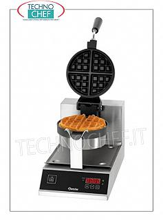 WAFFLE MACHINE with WHEEL-CAST IRON COOKING PLATE Waffle machine with cast iron cooking plate rotating 180 °, digital controls, V. 230/1, Kw 1.00, weight 10.5 Kg, dim.mm.250x280x385h