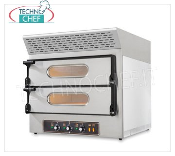 ELECTRIC PIZZA OVEN with EXTRACTOR HOOD, 2 CHAMBERS for 2 + 2 PIZZAS Ø 30 CM with REFRACTORY TOP ELECTRIC PIZZA OVEN with ACTIVATED CARBON SUCTION HOOD, KUBE EVO Line, for 2 + 2 PIZZAS diameter 300 mm, 2 CHAMBERS of 610x520x110h mm with REFRACTORY STONE TOP, V.230 / 400, Kw.4.85, Weight 79 Kg, dim.mm.740x600 / 740x740h