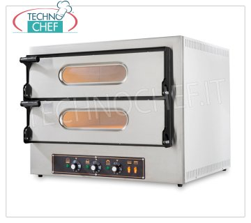Electric OVEN for 2 + 2 Pizzas of 30 cm, 2 Chambers of 61x51 cm, KUBE Line 2 ELECTRIC PIZZA OVEN for 2 + 2 PIZZAS diameter 300 mm, 2 CHAMBERS of mm 610x520x110h with REFRACTORY STONE TOP, V.230 / 400, Kw.4.8, Weight 66.5 Kg, dim.mm.740x600 / 740x600h