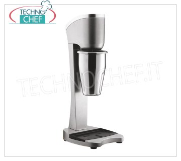 TECHNOCHEF - Professional Milkshake Whisk with Stainless Steel Glass, Mod.MP98 PROFESSIONAL MIXER for the preparation of milkshakes, milk shakes and cocktails, structure in LIGHT ALLOY and STAINLESS STEEL, container in STAINLESS STEEL lt. 0,9, V.230 / 1, Kw 0,3, Weight 3,4 Kg, dim .mm.210x180x485h