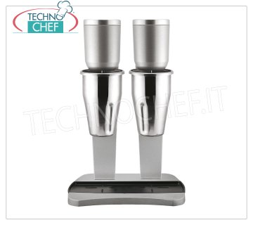 TECHNOCHEF - Professional Double beater with stainless steel beakers, Mod.M98 / 2 PROFESSIONAL DOUBLE MIXER for the preparation of milkshakes, milk shakes and cocktails, structure in LIGHT ALLOY and STEEL, containers in STAINLESS STEEL lt.0,9 + 0,9, V.230 / 1, Kw 0,3 + 0,3 , Weight 6.7 Kg, dim.mm.210x310x485h