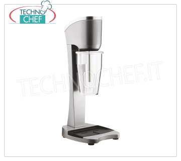 TECHNOCHEF - Professional milkshake whisk with Polycarbonate Tumbler, Mod.MP98T PROFESSIONAL MIXER for the preparation of milkshakes, milk shakes and cocktails, structure in LIGHT ALLOY and STEEL, TRANSPARENT POLYCARBONATE container from lt.0,9, V.230 / 1, Kw 0,3, Weight 3,4 Kg, dim. mm.210x180x485h
