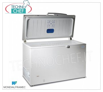 MONDIAL FRAMEC - Horizontal freezer with well, lt.352, Mod.MAEL400 Horizontal freezer with well, MONDIAL FRAMEC, capacity 352 lt, external white, temperature -18 / -25 ° C, V.230 / 1, Kw 0.16, Weight 48 Kg, dim.mm.1326x695x860h