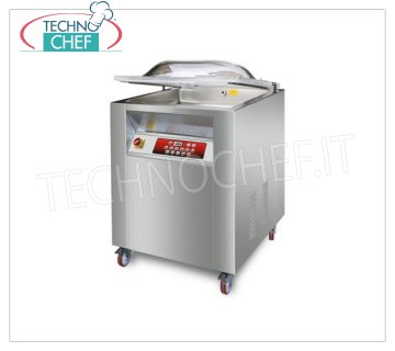 EUROMATIC - Technochef, Wheeled Bell Vacuum Machine, 50 cm Bars, MAGNUM Model PROFESSIONAL BELL VACUUM PACKAGING MACHINE on CABINET with WHEELS, CHAMBER mm.510x650x220h, WELDING BAR 500 mm, VACUUM PUMP 60/72 meters / cubic / hour, V.380 / 3, Kw.1,3, Weight 140 Kg, dim.mm.630x760x1050h