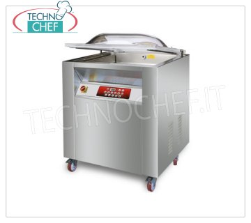 EUROMATIC - Technochef, Vacuum Chamber Machine, Chamber 72x57x20h cm, 2 Welding Bars 55 cm, PROFESSIONAL BELL VACUUM PACKAGING MACHINE on CABINET with WHEELS, CHAMBER mm.720x570x220h, 2 SEALING BARS of 550 mm, VACUUM PUMP of 60 meters / cubic / hour, V.380 / 3, Kw. 1,45, Weight 160 Kg, dim.mm.840x680x1050h