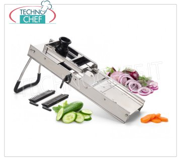 TECHNOCHEF - Professional Stainless Steel Mandoline Vegetable Cutter, Mod.126074 Professional Mandolina in stainless steel with trolley and accessories