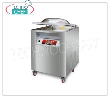 EUROMATIC - Technochef, Bell-Shaped Vacuum Packing Machine, 2 Bars 45 cm, Mod. MASTER 2 VACUUM PACKAGING MACHINE PROFESSIONAL on MOBILE with WHEELS, CAMERA mm.560x460x220H, 2 WELDING BARS 450 mm, VACUUM PUMP of 25 meters / cubic / hour, V.230 / 1, Kw. 1.00, Weight 110 Kg, dim.mm. 680x570x1050h