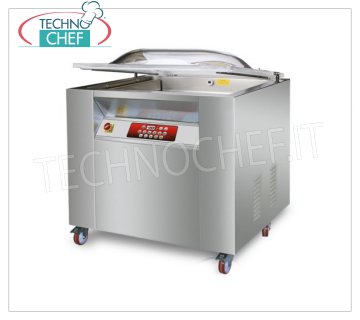 EUROMATIC - Technochef, Bell-shaped vacuum chamber machine, 2 bars of 50 and 90 cm, Mod.MAXI VACUUM PACKAGING MACHINE with PROFESSIONAL BELL on MOBILE with WHEELS, CAMERA mm.920x570x220h, 2 WELDING BARS of 500 and 900 mm, VACUUM PUMP of 100/120 meters / cubic / hour, V.380 / 3, Kw.2,4, Weight 200 Kg, dim.mm.1040x680x1050h