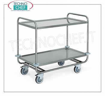 Service trolleys in stainless steel Heavy transport trolley built in 18/10 stainless steel, with 2 molded shelves welded from mm. 1000x500, max.kg capacity 200, dim.mm 1090x590x910h