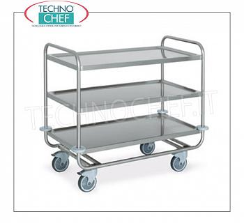 Trolleys for freight transport Trolley for heavy transport, built in 18/10 stainless steel, with 3 printed planes welded by mm. 1000x500, capacity max.kg 200, dim.mm 1090x590x910h