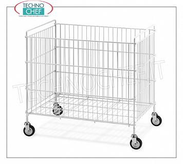 Laundry trolleys FOLDING LITTERS BASKET in white plasticised steel rod, with swivel wheels of diam.80 mm, dim.mm.800x510x750h