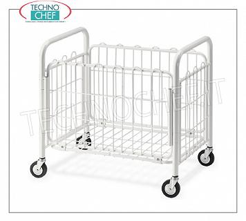 Laundry trolleys FOLDING LITTERS BASKET in white painted steel tube and wire, with swivel wheels of diam.95 mm, dim.mm.800x520x770h