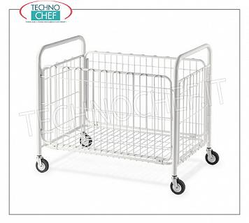 Laundry trolleys FOLDING LITTERS BASKET in white painted steel tube and wire, with swivel wheels of diam.95 mm, dim.mm.1000x600x870h