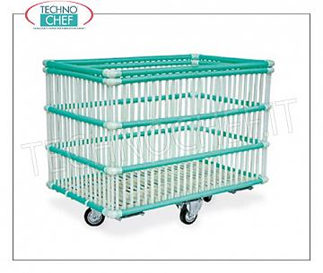 Laundry trolleys POLYPROPYLENE BASKET IN WASHING MACHINE with wheels from diam.100 mm, mounted on a galvanized steel frame, dim.mm.1020x630x820h